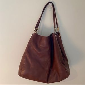 COACH brown leather large purse red gold